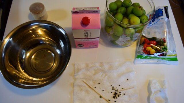 梅シロップ作りの材料