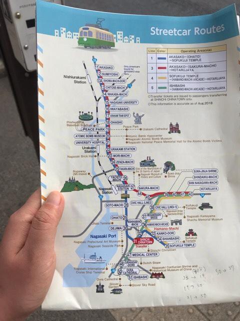 長崎の路面電車の路線図