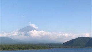 富士山と夕月