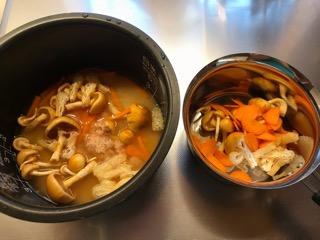 オイシックスの足長なめこの炊き込みご飯と味噌汁
